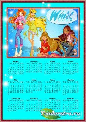 Календарь для фотошопа на 2010 год - Винкс