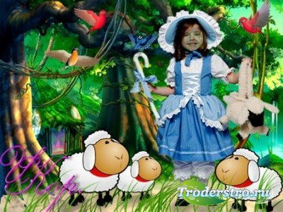 Детский шаблон для фотошопа - Пастушка