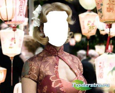 Шаблон для фотошопа - Девушка и Китайские Фонаpики