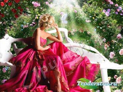 Женский шаблон для фотошопа - Девушка в саду
