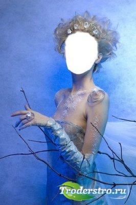 Шаблон для фотошопа – Девушка на голубом
