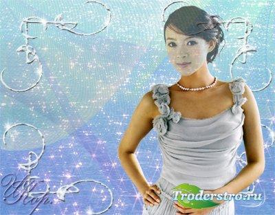 Женский шаблон для фотошопа - Девушка в голубом