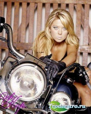Женский шаблон для фотошопа - Девушка на мотоцикле