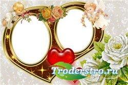 Рамка для фотошопа - Сердце на двоих