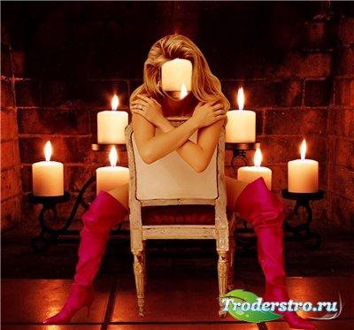 Женский шаблон для фотошопа - Свечи