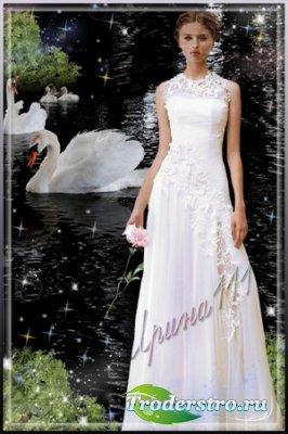 Женский шаблон для фотошопа - Лебеди