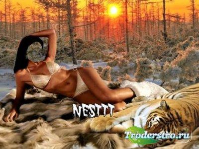 Женский шаблон для фотошопа - Закат в лесу