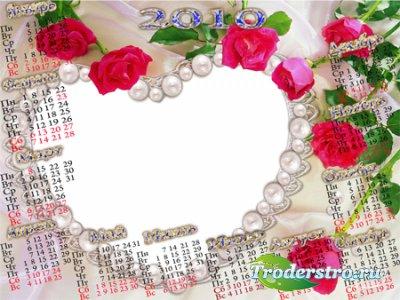 Рамочка календарь для фотошопа - Женщинам цветы