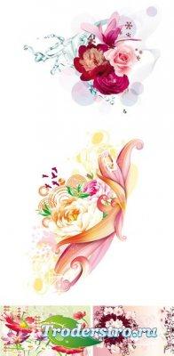 Spring Flowers Vector - Клипарт