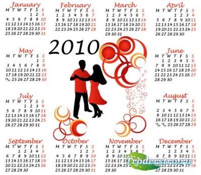 Векторный календарь для фотошопа 2010 №8
