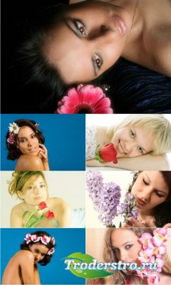 Stock foto - Девушки с цветами