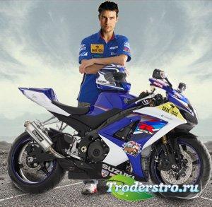 Мужской шаблон для фотошопа - У мотоцикла