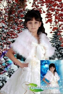 Шаблон для фотошопа - Девочка Зима