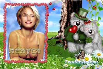 Рамка для фотошопа - Мишки и сердце!