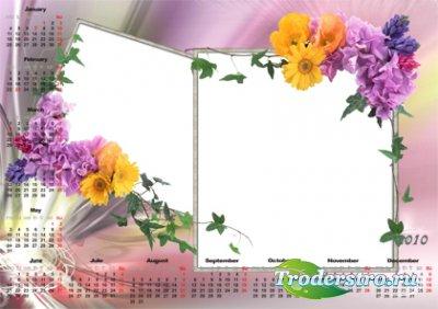 Рамочка для фотошопа - Цветочный календарь