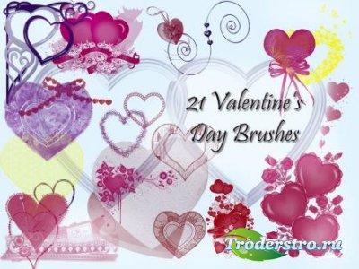 Кисти для фотошопа – День Святого Валентина (21 шт)