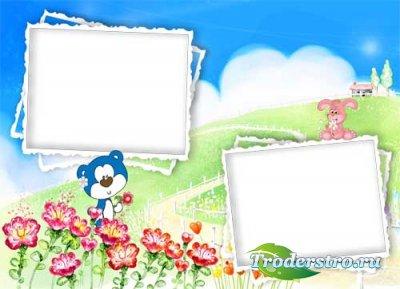 Рамка для фотошопа - Веселый мишка