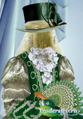 Шаблон для фотошоп – Девочка в зеленом костюме