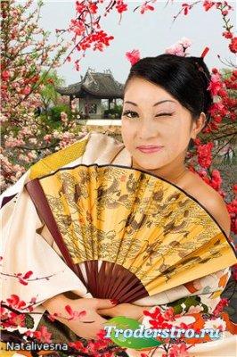 Женский шаблон  для Photoshop –  Японская Красавица