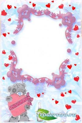 Рамка для фотошопа - Мишка с сердцем
