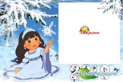 Зимняя рамка для фотошопа с девочкой-снежинкой