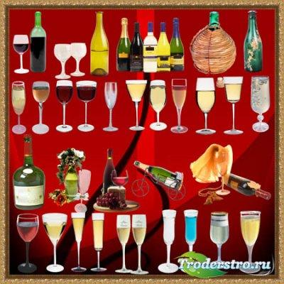 Клипарт для фотошопа - Бутылки и бокалы