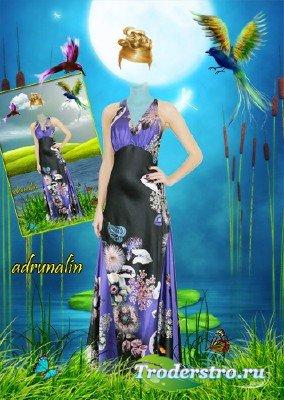 Женский шаблон фотошоп - На чудесном берегу