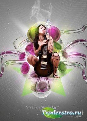 PSD исходник для фотошопа - Постер рок-звезды