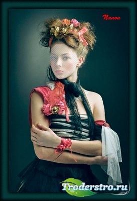 Женский шаблон для фотошоп - Портрет 1