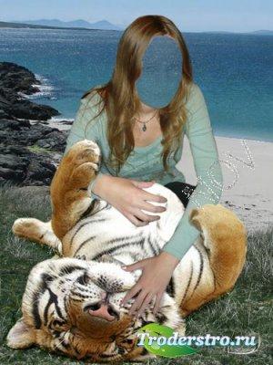 Шаблон для фотошоп -Игры с тигром