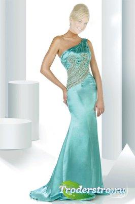 Женский шаблон для фотошопа - Бирюза платье