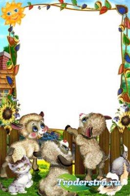 Рамка для фотошопа - Малыши играют