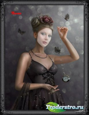 Женский шаблон для фотошоп - Девушка с часами