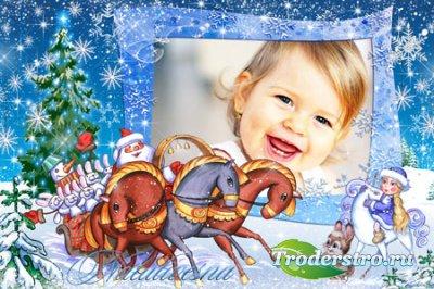 Рамка детская для Photoshop – Дед Мороз и зайцы