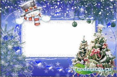 Новогодняя рамочка для фото -Снеговик