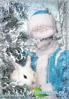 Детский шаблон фотошоп - Снегурочка с кроликом