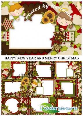 Праздничный набор рамочек - С Новым годом и Рождеством