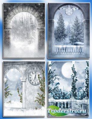 Зимние фоны для шаблонов