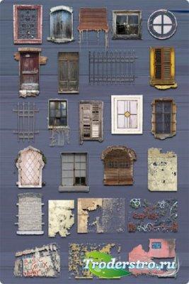 Клипарт - Окна, двери, стены
