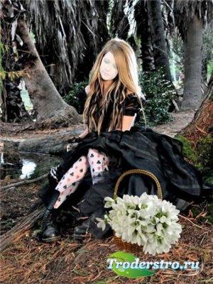 Шаблон для фотошопа – Девушка с подснежниками