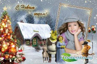 Новогодняя рамка для фотошоп Шрек и его семья
