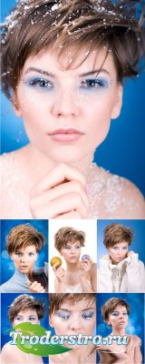 Stock Photos - winter girl | девушка на синем фоне
