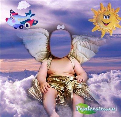 Детский шаблон для фотомонтажа - Ангелок на облачке