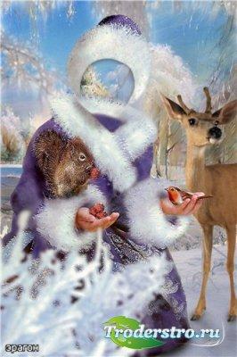 Детский шаблон для фотошопа – Юная снегурочка