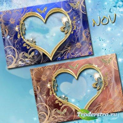 Романтическая рамка для фотошопа - Золотое сердце