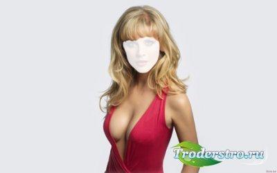 Шаблон для Фотошопа - Девушка в красном платье