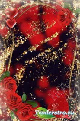 Романтическая рамка для фотощопа - Влюбленные сердца