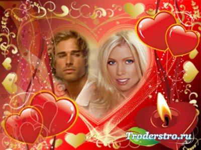 Романтическая рамка для фотошопа - Свеча любви