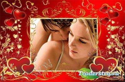 Романтическая рамка для фотошопа - Золотые сердечки
