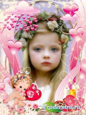 Романтическая рамочка для фотошопа - Влюбленный ангелочек